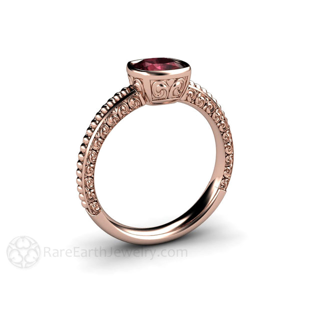 Rose Gold Fluer De Lis Garnet Ring Cushion Cut Rare Earth Jewelry