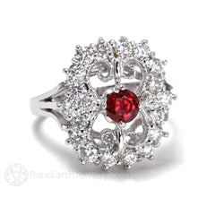 Rare Earth Jewelry Filigree Art Deco Ruby Ring Vintage Style with Diamonds 14K Gold