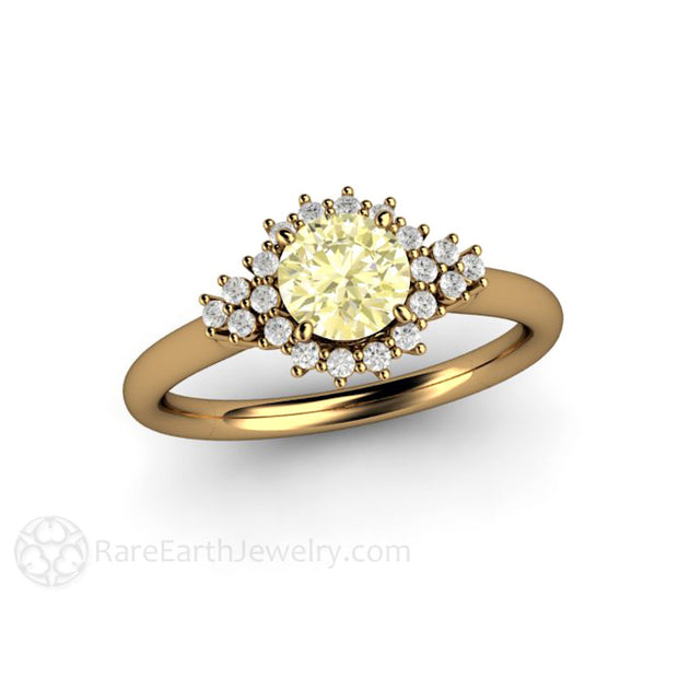 18K Yellow Gold Sapphire Bridal Engagement Ring with Diamond Accents Rare Earth Jewelry