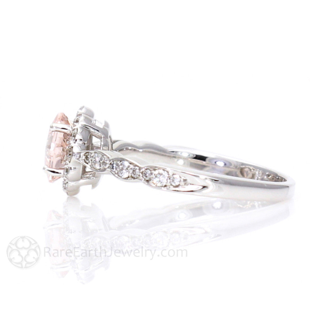 Asscher Cut Morganite and Diamond Halo Engagement Ring Vintage Style – Rare E