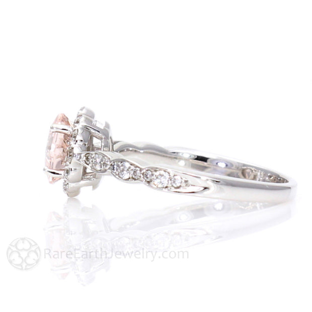 Rare Earth Jewelry Vintage Style Asscher Morganite Anniversary Ring with Diamond Scalloped Band and Halo 14K