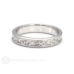 Scroll Filigree Wedding Band Art Nouveau Vintage Ring