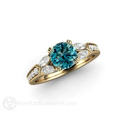14K Round 1ct Blue Diamond Ring White Marquise Accent Diamonds Rare Earth Jewelry
