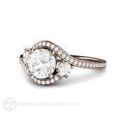 Rare Earth Jewelry Vintage Style Diamond Halo Wedding Ring Rose Gold 3 Stone Setting