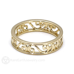 Rare Earth Jewelry 18K Gold Filigree Bridal Ring Vintage Scroll Design