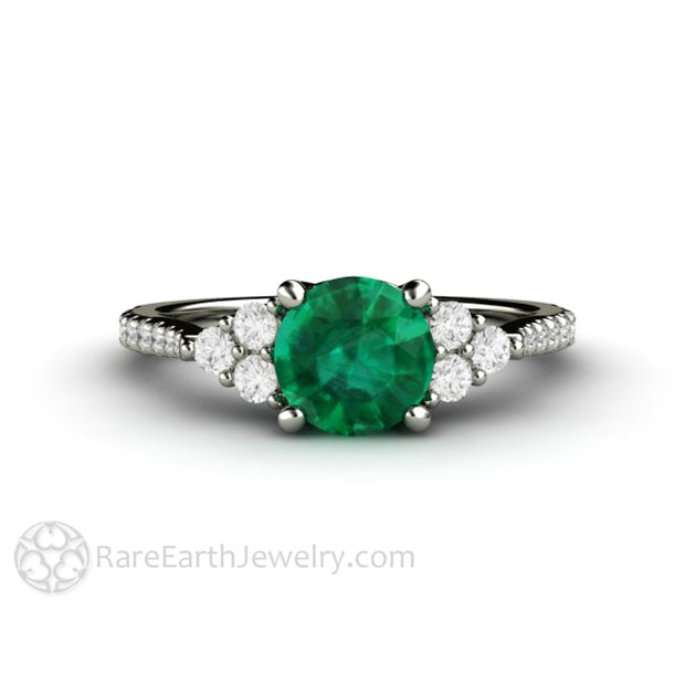 White Gold Emerald Ring Anniversary May Birthstone Round Cut Diamond Accented Rare Earth Jewelry