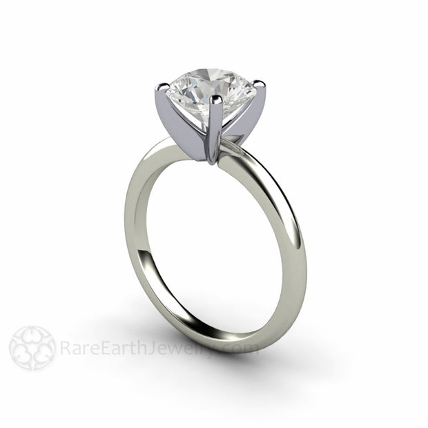White Gold Solitaire Engagement Ring with Platinum Head Four Prong Setting Colorless 2 Carat Round Cut Forever One Moissanite Rare Earth Jewelry