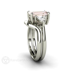 Platinum Morganite Bridal Set Emerald Cut White Sapphire Accents