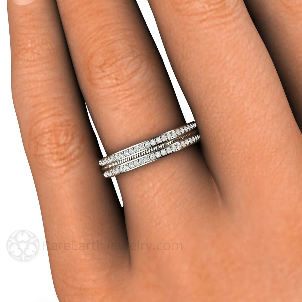 Double Pave Diamond Wedding Band or Anniversary Ring - Rare Earth ...