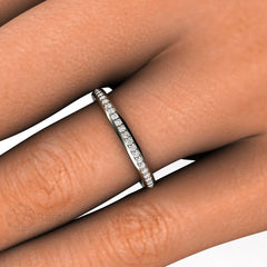 Diamond Stacking Ring on Finger Rare Earth Jewelry