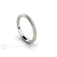 White Gold Diamond Stackable Wedding Band Bridal Ring Rare Earth Jewelry