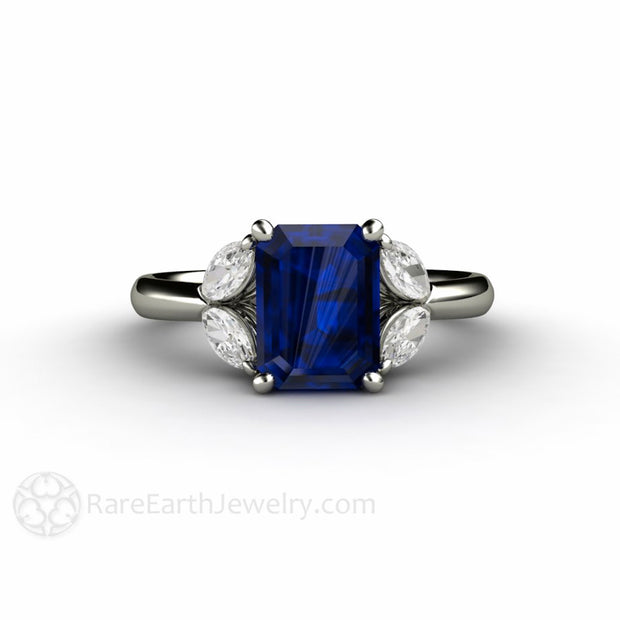 Sapphire with Diamond Anniversary or September Birthstone Ring Rare Earth Jewelry