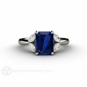 Rare Earth Jewelry Emerald Cut Blue Sapphire Ring with Diamond Accent Stones