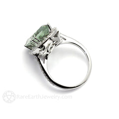 Rare Earth Jewelry Diamond Halo Green Amethyst Ring Platinum Vintage Style Setting