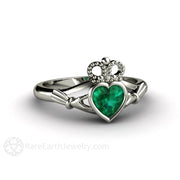 Emerald Claddagh Engagement Ring 14K White Gold Bezel Setting Rare Earth Jewelry