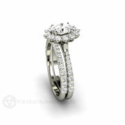 Rare Earth Jewelry White Gold Moissanite Bridal Set Pave Diamond Halo Setting