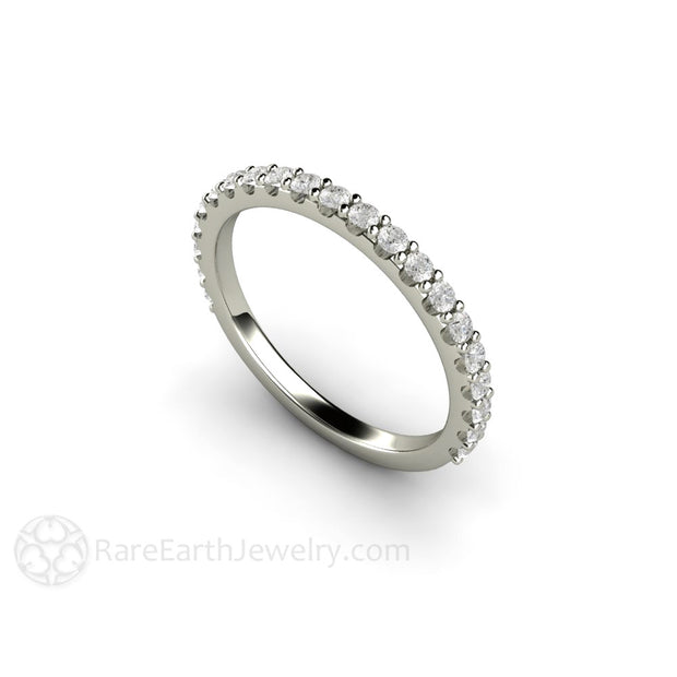 White Gold Pave Diamond Wedding Band Round Cut Conflict Free Diamonds Rare Earth Jewelry