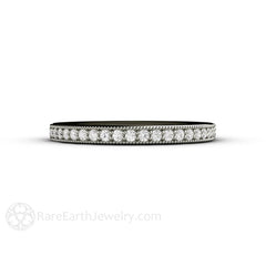 Milgrain Diamond Band Platinum Setting Round Cut Diamonds