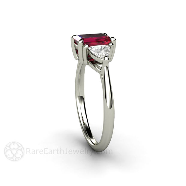 Trillion White Sapphire with Emerald Cut Ruby Ring 14K White Gold Rare Earth Jewelry
