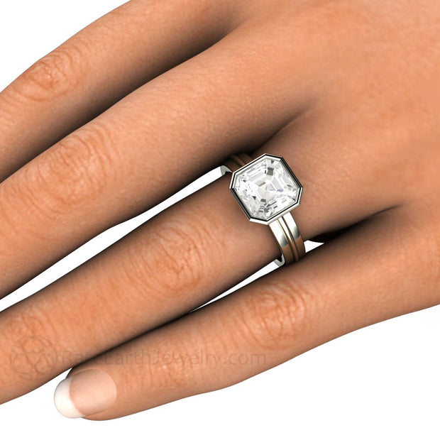 3ct Asscher Cut White Sapphire Engagement Ring on Finger Rare Earth Jewelry