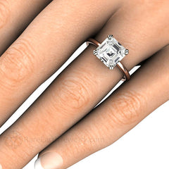 Asscher White Sapphire Bridal Ring on Finger Rare Earth Jewelry
