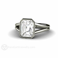 White Sapphire Diamond Alternative Bridal Ring Bezel Split Shank Rare Earth Jewelry