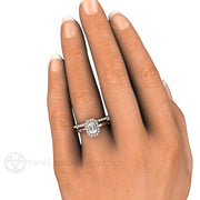Rare Earth Jewelry Emerald Cut White Sapphire Bridal Set on Finger