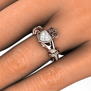 Ireland Claddagh Friendship Ring on Finger Rare Earth Jewelry