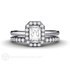 Rare Earth Jewelry Platinum Emerald White Sapphire Bridal Ring Set Petite Setting Emerald Cut Gemstone