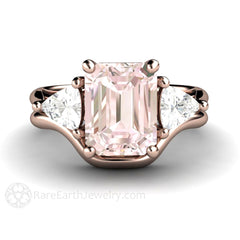 Emerald Cut Morganite Wedding Set 18K Rose Gold