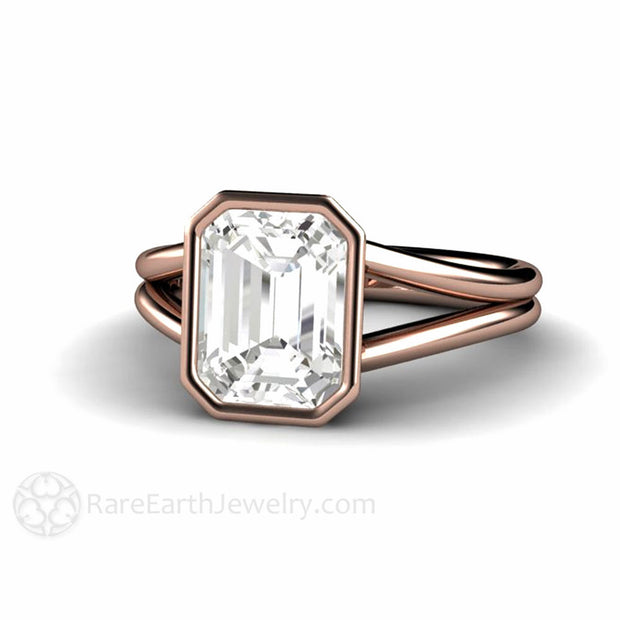 Rare Earth Jewelry Emerald Cut White Sapphire Ring Rose Gold Bezel Split Shank