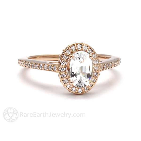 White Sapphire Engagement Ring with Oval Diamond Halo – Rare Earth Jewelry