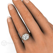 White Sapphire Bridal Ring Asscher Cut Bezel Solitaire Rare Earth Jewelry