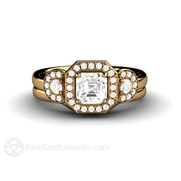 18K White Sapphire Engagement Ring and Wedding Band Set Asscher Cut Halo 3 Stone Rare Earth Jewelry