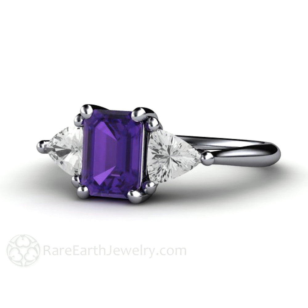 Purple Amethyst 3 Stone Ring Emerald Cut Anniversary or February Birthstone Gift Rare Earth Jewelry