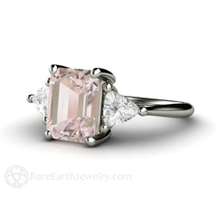 Platinum Morganite Ring White Sapphire Trillion Accents