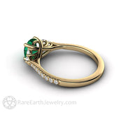 Woven Prong Emerald and Diamond Engagement Ring 14K Yellow Gold Rare Earth Jewelry