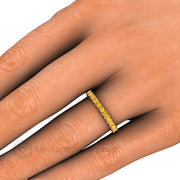 Yellow Diamond Anniversary Ring on Finger - Rare Earth Jewelry