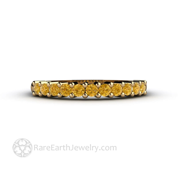 Yellow Diamond Wedding Ring Anniversary Band or Stacking Ring - Rare Earth Jewelry