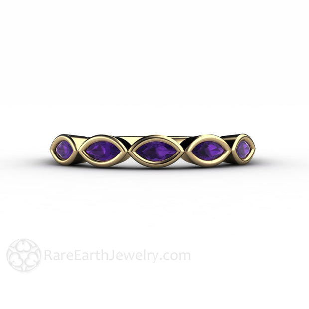 Yellow Gold Amethyst Band Bezel Set Purple Gem Stackable Ring by Rare Earth Jewelry