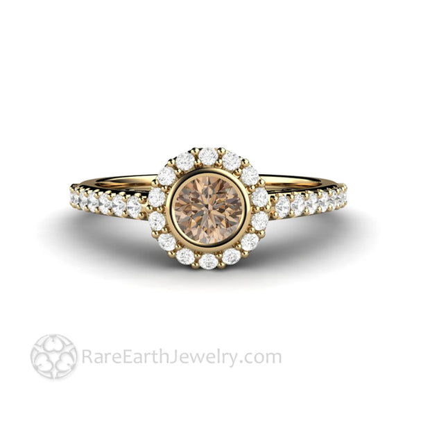 Brown Diamond Halo Ring in Yellow Gold Dainty Pave Setting