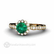 Round Lab Grown Chatham Emerald Engagement Ring in Yellow Gold Vintage Style Diamond Halo by Rare Earth Jewelry