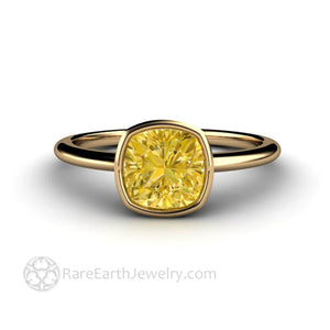 Yellow Moissanite Engagement Ring Cushion Bezel Solitaire - Rare Earth Jewelry