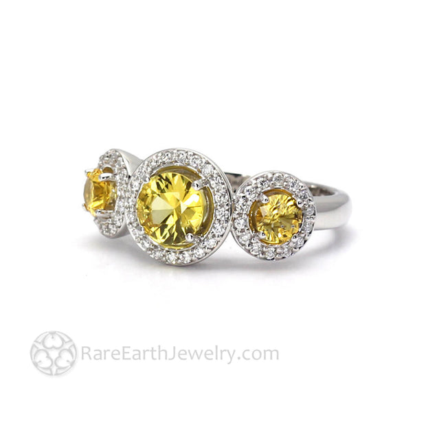 Yellow Sapphire Diamond Halo Engagement Ring 3 Stone - Rare Earth Jewelry