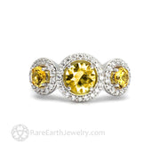 Yellow Sapphire Diamond Halo Ring Three Stone 14K White Gold - Rare Earth Jewelry