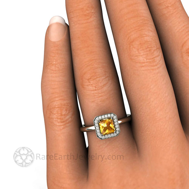 Yellow Sapphire Engagement Ring Princess Cut Halo - Rare Earth Jewelry