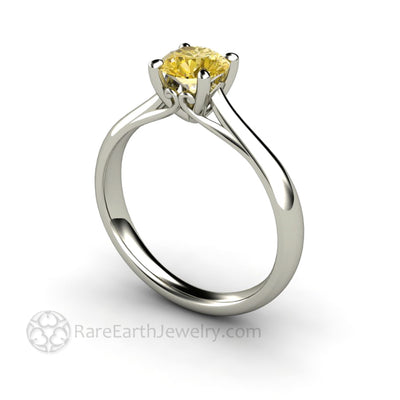 Rare Earth Jewelry Vintage Yellow Sapphire Solitaire Ring Round Cut Natural Gemstone 14K Gold Filigree Engagement Ring