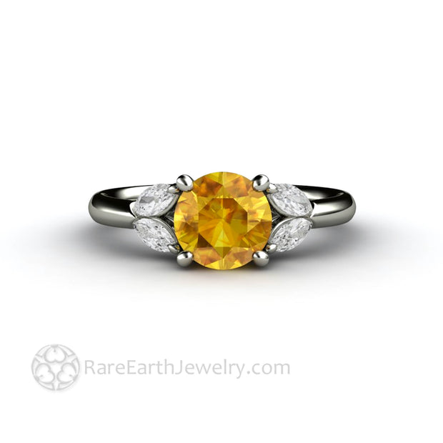 Yellow Sapphire Marquise Diamond Ring 14K White Gold - Rare Earth Jewelry