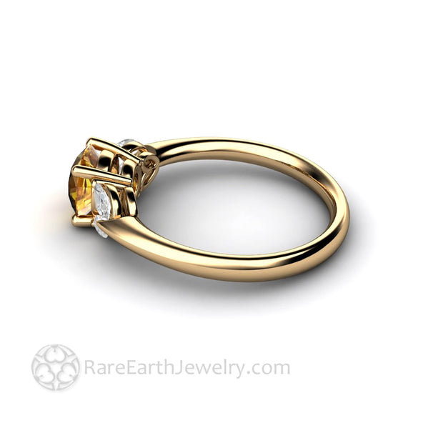 14K Round Cut Yellow Sapphire and Diamond Wedding Ring - Rare Earth Jewelry