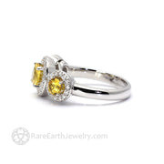 Yellow Sapphire Halo Anniversary Ring - Rare Earth Jewelry